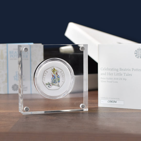 Silver Proof Peter Rabbit 50p in a deluxe personalised gift box