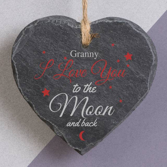 To The Moon & Back Printed Slate Hang Heart