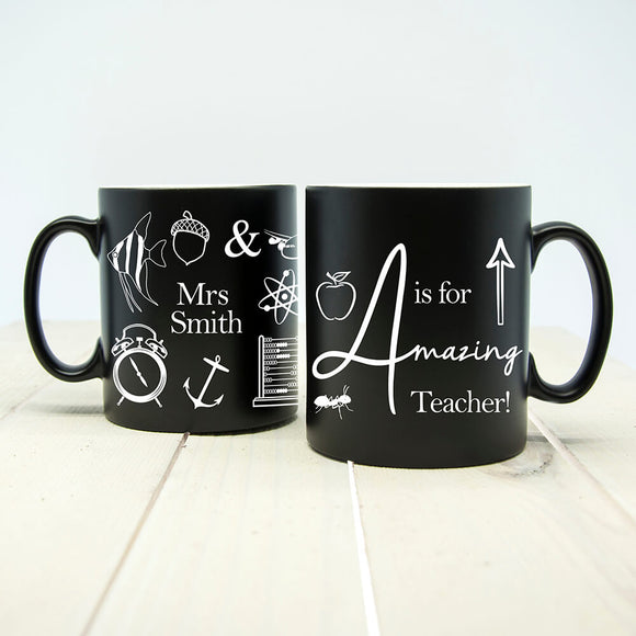 Personalised Amazing Teacher Matte Mug Black
