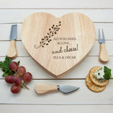 "Personalised ""All You Need Is Love...and Cheese"" Heart Shaped Couples Cheese Board with speciality knifes. Perfect wedding gift or anniversary gift"