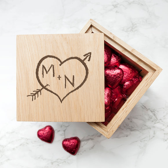 Personalised Carved Heart Oak Photo Cube