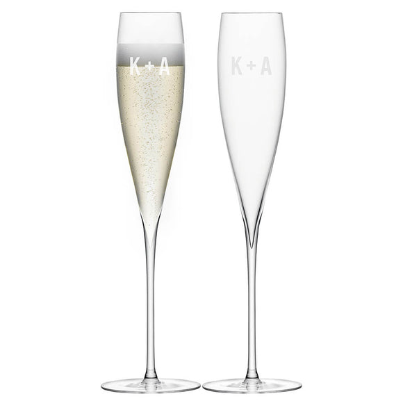 LSA Set of 2 Personalised Champagne Flutes Cross