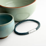 Personalised Men's Capsule Tube Woven Bracelet In Aegean Blue