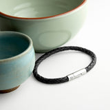 Personalised Men's Capsule Tube Woven Bracelet In Black