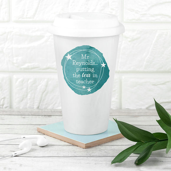 Tea in Teacher Personalised Travel Mug Blue