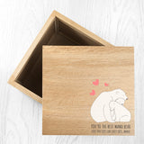 Personalised The Best Mama Bear Oak Photocube Keepsake Box