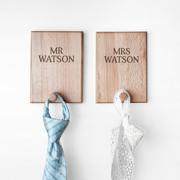 Personalised Couple Solid Oak Peg Hooks Mr and Mrs