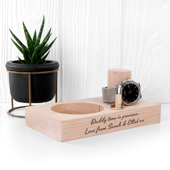 Personalised Oak Wood Watch Stand