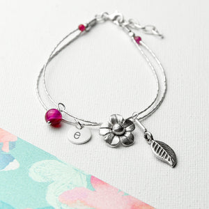 Personalised Forget Me Not Friendship Bracelet With Indian Ruby Stones