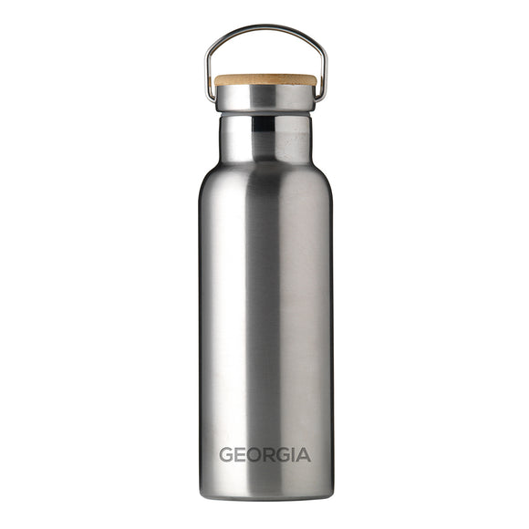 Personalised Insulated Bottle 17oz Bamboo Lid - Small Personalisation