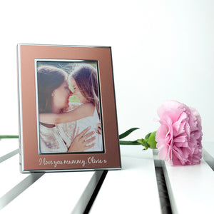 Personalised Small Rose Gold Metal Photo Frame