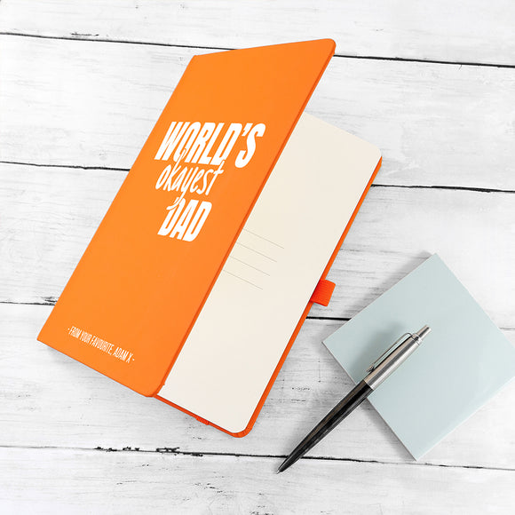 Personalised World's Okayest Dad A5 Notebook