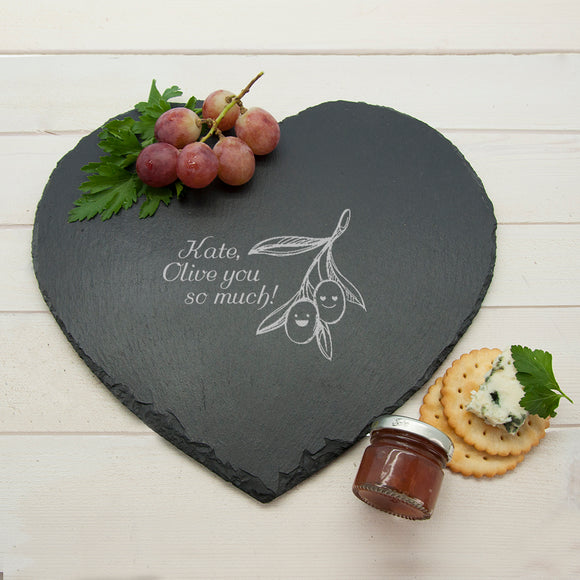 Romantic Pun Olive You So Much Heart Slate Cheese Board