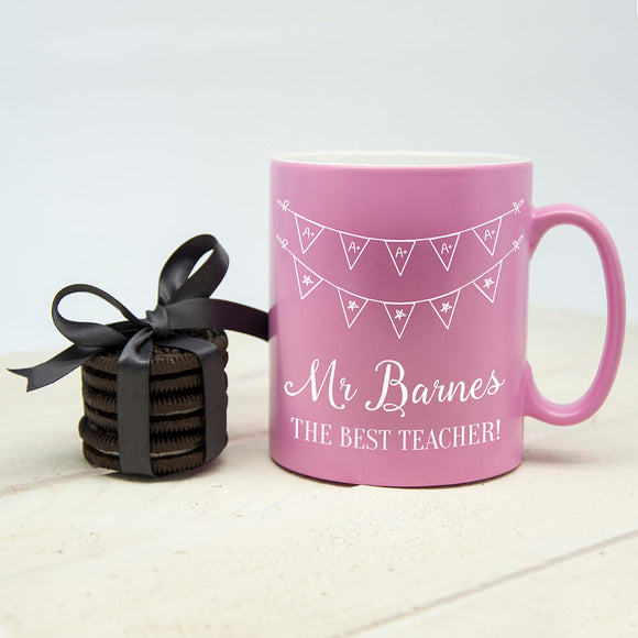 Personalised Best Teacher Pink Mug