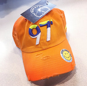 Orange Distressed 97' London Summer Of Love Dad Cap Hat
