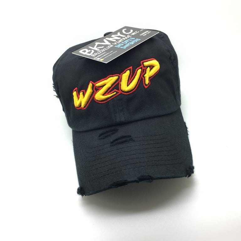 Black Distressed WZUP Dad Cap Hat