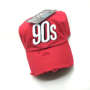 Red Distressed 9Os Dad Cap