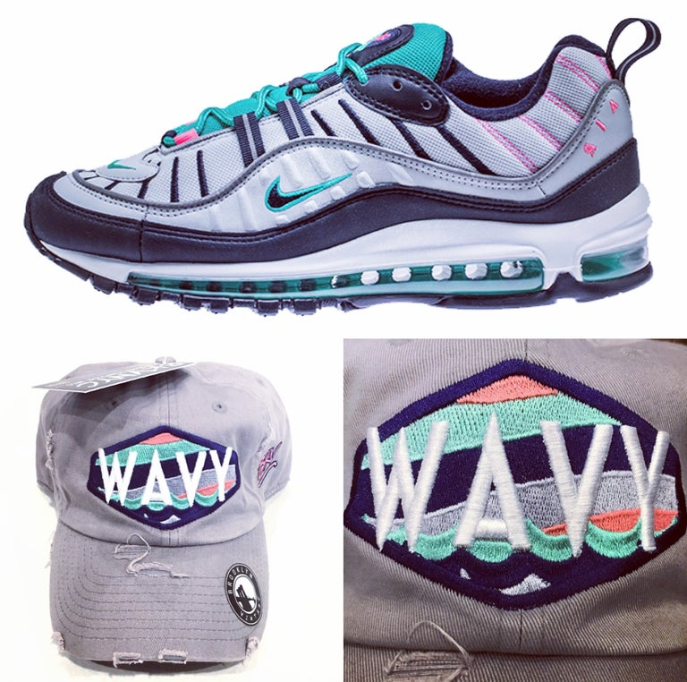 Grey Wavy Distressed Air Max 98' Dad Cap Hat