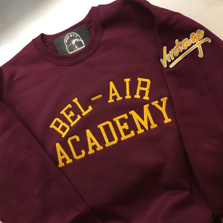 Maroon Bel-Air Academy Embroidered Crewneck Sweater