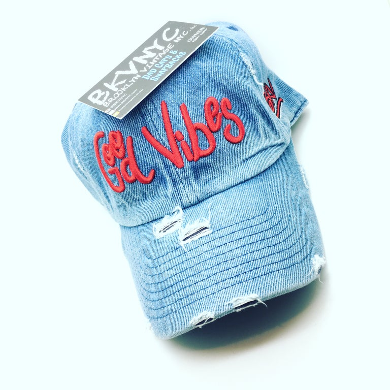 Denim Distressed Good Vibes Dad Cap Hat