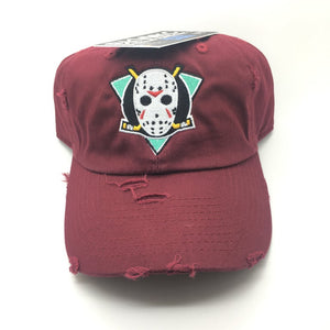 "Maroon Distressed ""Mighty Jason's"" Dad Cap Hat"