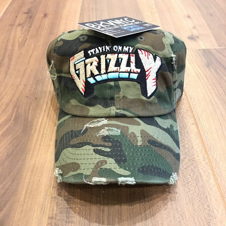 Camo Distressed On My Grizzly Dad Cap Hat