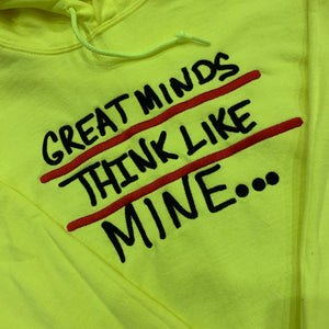 Neon Green Great Minds Embroidered Hoodie