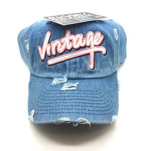 Denim Distressed Vintage City Dad Cap Hat