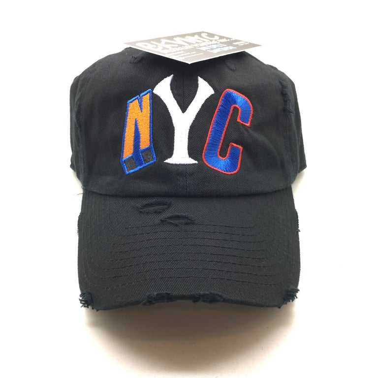 Black Distressed NYC Dad Cap Hat