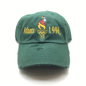 Green Distressed ATL96OLM Dad Cap Hat