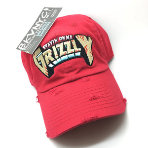 Red Distressed Stayin' On My Grizzly Dad Cap Hat