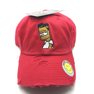 Red Distressed Black Bart Dad Cap Hat