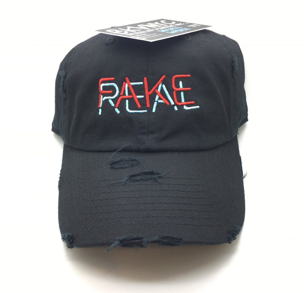 Black Distressed Real Fake Dad Cap Hat