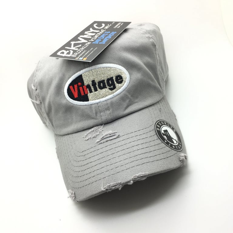 Grey Distressed Vintage Logo Dad Cap Hat For Silver Air Max 97