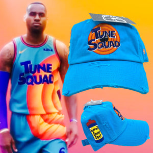 "Aqua Distressed ""Tune Squad"" LeBron Dad Cap Hat"