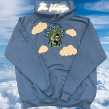 Sky Blue Statue Of Lit-Berty Embroidered Sweater