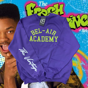 Purple Bel-Air Academy Crewneck Embroidered Sweater