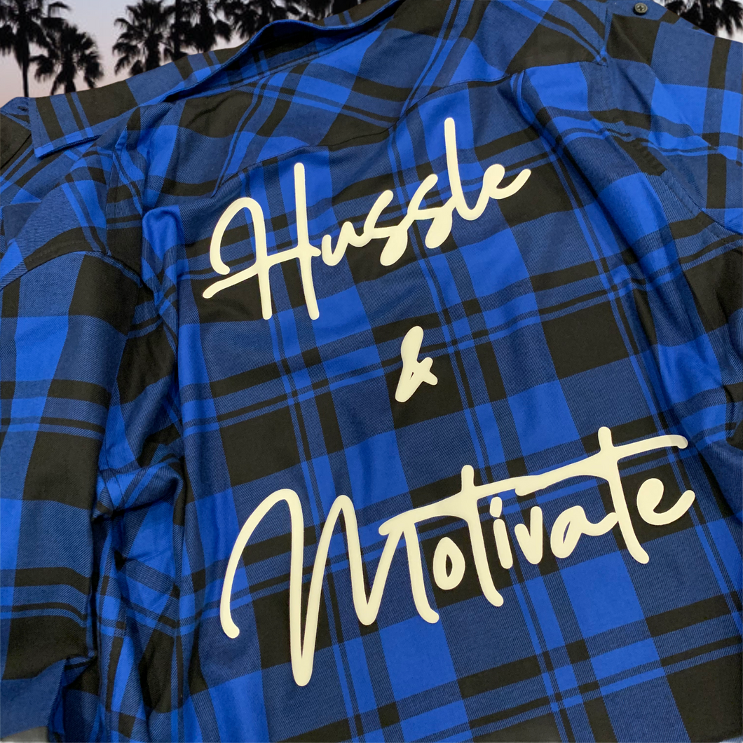 Black/Blue Plaid Hussle & Motivate Long Sleeve Shirt