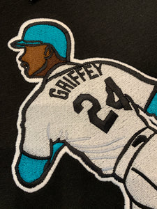 Black Ken Griffey Embroidered Pull-Over Hoodie