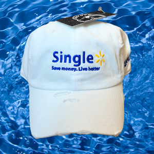 "The ""Singl3"" Dad Cap In White"