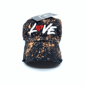 Black Bleached Distressed LOVE Dad Cap Hat