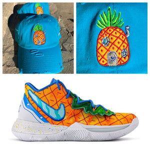 Aqua Distressed Pineapple Dad Cap Hat For Kyrie 5