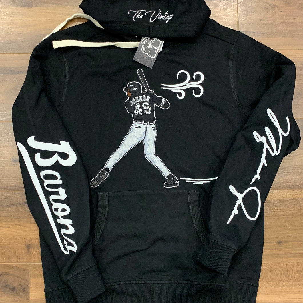 Black Jordan Barons Embroidered Pull-Over Sweater