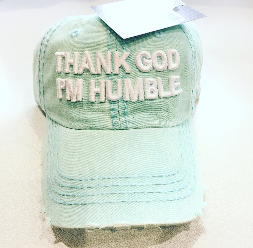 Teal Distressed Thank God I'm Humble Dad Cap Hat