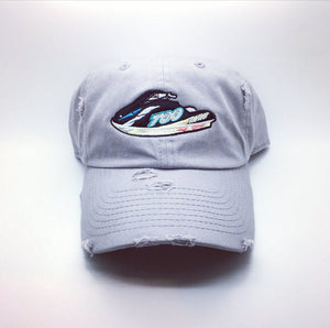 Grey Distressed Yeezy 700 Jetski Dad Cap Hat