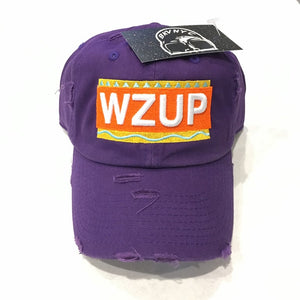 Purple Distressed WZUP Dad Cap Hat