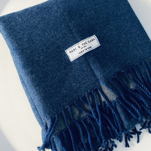 New. Cashmere Mix Dark Blue Scarf