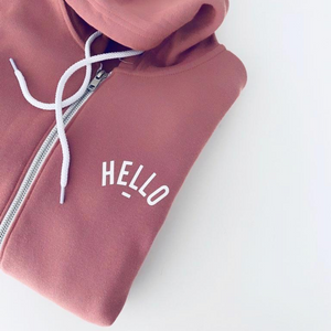 Plush Rose Hello Zip Up Hoodie