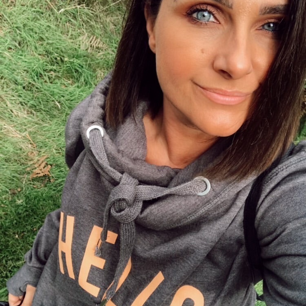 Orange HELLO hoodie in Dark Grey