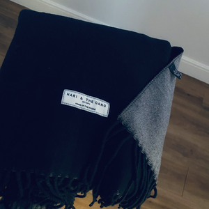 New. Cashmere Mix Black Scarf